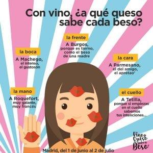 1ª Ruta Vino y Queso Sabe a Beso | Tetuán - Madrid | 01/06 al 02/07/2017 | Con vino ¿a qué sabe cada beso?