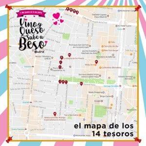 1ª Ruta Vino y Queso Sabe a Beso | Tetuán - Madrid | 01/06 al 02/07/2017 Mapa de los 14 tesoros