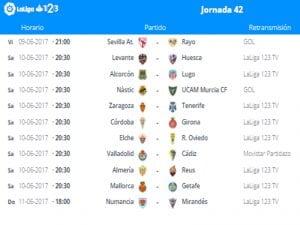 Calendario de partidos | Jornada 42ª | LaLiga 1|2|3 | 09 al 11/06/2017
