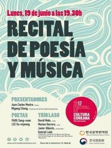 Recital de Poesía y Música | Centro Cultural Coreano | Madrid | 19/06/2017 | Cartel
