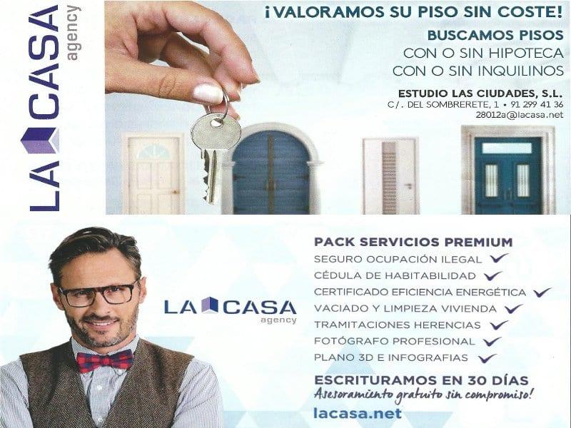 ¡Valoramos su piso sin coste! | Buscamos pisos | Folleto publicitario LA CASA Agency Lavapiés | Mayo 2017