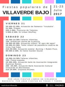 Fiestas populares de Villaverde Bajo 2017 | 21 - 23/07/2017 | Villaverde | Madrid | Cartel programa