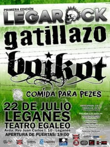 LegaRock 2017 | Teatro Egaleo | Leganés | Comunidad de Madrid | 22/07/2017 | Gatillazo, Boikot y Comida para Pezes | Cartel
