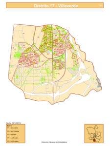 Plano 5 barrios del distrito de Villaverde de Madrid | Fuente DGE del Ayuntamiento de Madrid