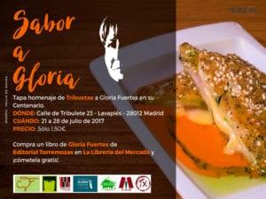 Tapa 'Sabor a Gloria' | Homenaje de Tribuetxe a Gloria Fuertes | Centenario Gloria Fuertes | 21 - 28/07/2017 | Tribuetxe | Lavapiés | Madrid | Cartel Paula de Sousa
