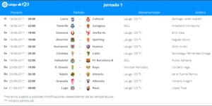 Calendario de partidos | LaLiga 1|2|3 | Jornada 1ª | 18 al 21/08/2017
