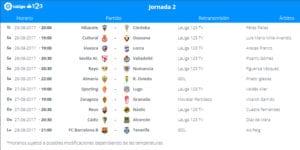 Calendario de partidos | LaLiga 1|2|3 | Jornada 2ª | 25 al 28/08/2017