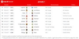 Calendario de partidos | LaLiga Santander | Jornada 1ª | 18 al 21/08/2017