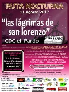 Ruta nocturna 'Las lágrimas de San Lorenzo' | 11/08/2017 | CDC El Pardo | Escuela Mountain Bike de Madrid | Cartel