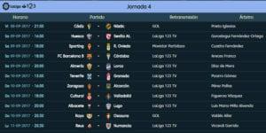 Calendario de partidos | LaLiga 1|2|3 | Jornada 4ª | 08 al 11/09/2017