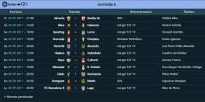Calendario de partidos | LaLiga 12|3 | Jornada 6ª | 22 al 25/09/2017