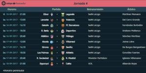 Calendario de partidos | LaLiga Santander | Jornada 4ª | 15 al 18/09/2017