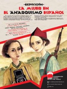 Jornadas 80 Aniversario de la Federación Mujeres Libres | Exposición 'La mujer en el anarquismo español' | CGT | CDI Arganzuela | 04-25/09/2017 | Arganzuela | Madrid | Cartel