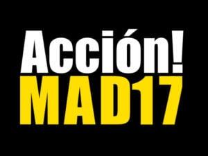 Acción!MAD 17 | 14º Encuentro Internacional de Arte de Acción | Abierta convocatoria de talleres | Sala El Águila de la Comunidad de Madrid | Arganzuela | Madrid | 25/10-25/11/2017 | Logo