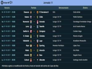 Calendario de partidos | LaLiga 1|2|3 | Jornada 11ª | Temporada 2017-2018 | 20 al 23/10/2017