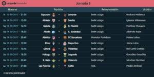 Calendario de partidos | LaLiga Santander | Jornada 8ª | Temporada 2017-2018 | 13 al 16/10/2017