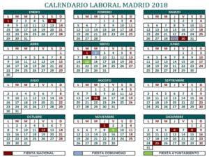 Calendario Laboral 2018 | 12 festivos | Ciudad de Madrid
