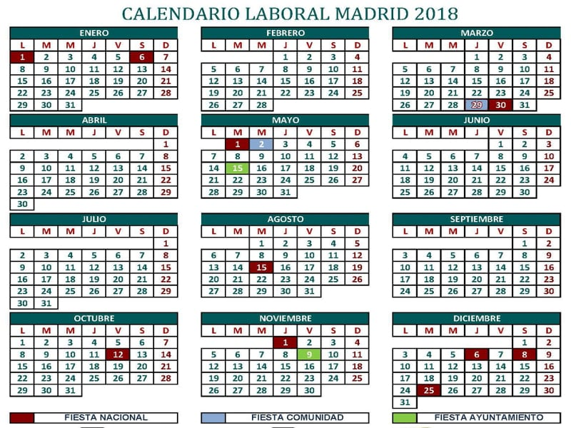 Calendario Laboral Ua.Calendario Comunidad De Madrid