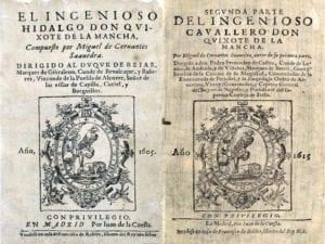 Los libros de Miguel de Cervantes   Portadas de las 2 partes de Don Quijote de la Mancha   Imprenta Juan de la Cuesta   Madrid 1605 y 1615