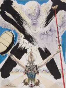 Salvador Dalí   Pages choisies de don Quichotte de la Manche   12 litografías grabadas por Ballón, Delorme, Detruit, Guillard, Mourlat y Ravel   Imprenta Joseph Foret   París 1957