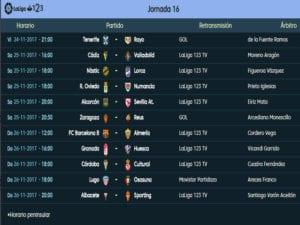 Calendario de partidos | LaLiga 1|2|3 | Jornada 16ª | Temporada 2017-2018 | 24 al 26/11/2017