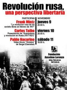 Jornadas 'Revolución rusa, una perspectiva libertaria' | Fundación Anselmo Lorenzo | Arganzuela - Madrid | 09 - 11/11/2017 | Cartel