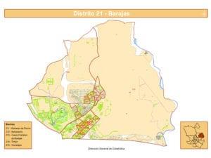 Plano de los 5 barrios del distrito de Barajas de Madrid | Fuente DGE Ayuntamiento de Madrid