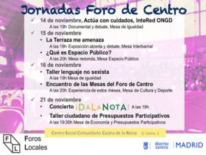 Primeras Jornadas Foro de Centro | 14, 15, 16 y 21/11/2017 | Centro Social Comunitario Casino de la Reina | Lavapiés - Centro - Madrid | Programa