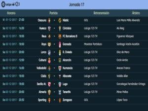 Calendario de partidos | LaLiga 1|2|3 | Jornada 17ª | Temporada 2017-2018 | 01 al 03/12/2017
