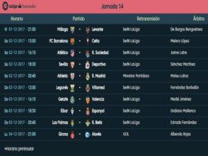 Calendario de partidos | LaLiga Santander | Jornada 14ª | Temporada 2017-2018 | 01 al 04/12/2017