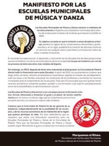 Manifiesto por las Escuelas Municipales de Música y Danza de Madrid | Marquemos el Ritmo | Diciembre 2017Manifiesto por las Escuelas Municipales de Música y Danza de Madrid | Marquemos el Ritmo | Diciembre 2017