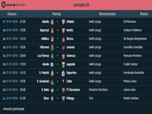 Calendario de partidos | LaLiga Santander | Jornada 20ª | Temporada 2017-2018 | 19 al 22/01/2018
