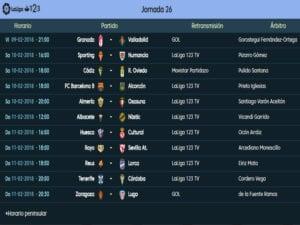 Calendario de partidos | LaLiga 1|2|3 | Jornada 26ª | Temporada 2017-2018 | 09 al 11/02/2018