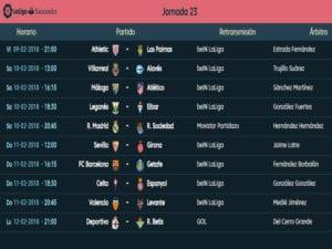 Calendario de partidos   LaLiga Santander   Jornada 23ª   Temporada 2017-2018   09 al 12/02/2018