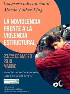 1er Congreso Noviolencia Martin Luther King | 23-25/03/2018 | Nave de Terneras - Matadero Madrid | Arganzuela (Madrid) | Cartel