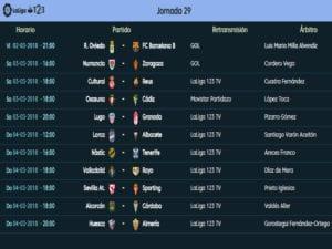 Calendario de partidos | LaLiga 1|2|3 | Jornada 29ª | Temporada 2017-2018 | 02 al 04/03/2018