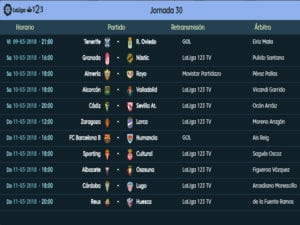 Calendario de partidos | LaLiga 1|2|3 | Jornada 30ª | Temporada 2017-2018 | 09 al 11/03/2018