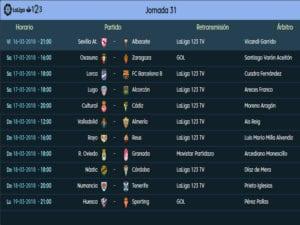Calendario de partidos | LaLiga 1|2|3 | Jornada 31ª | Temporada 2017-2018 | 16 al 19/03/2018