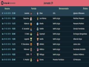 Calendario de partidos | LaLiga Santander | Jornada 29ª | Temporada 2017-2018 | 16 al 18/03/2018