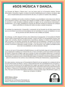 Manifiesto SOS Música y Danza | Marquemos el Ritmo | Movimiento por las Escuelas Municipales de Música y Danza de la Comunidad de Madrid | Manifiesto