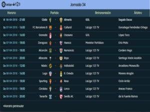 Calendario de partidos | LaLiga 1|2|3 | Jornada 34ª | Temporada 2017-2018 | 06 al 08/04/2018