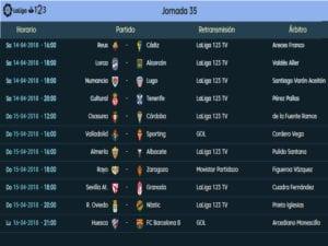 Calendario de partidos | LaLiga 1|2|3 | Jornada 35ª | Temporada 2017-2018 | 14 al 16/04/2018