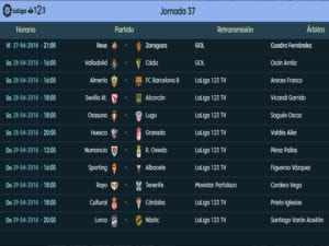 Calendario de partidos | LaLiga 1|2|3 | Jornada 37ª | Temporada 2017-2018 | 27 al 29/04/2018