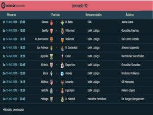 Calendario de partidos | LaLiga Santander | Jornada 32ª | Temporada 2017-2018 | 13 al 15/04/2018