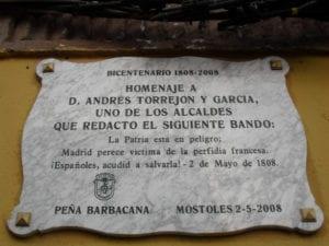 Bando de los alcaldes de Móstoles | 2 de mayo de 1808 | Móstoles | Madrid | Placa conmemorativa 2008