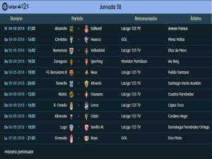 Calendario de partidos | LaLiga 1|2|3 | Jornada 38ª | Temporada 2017-2018 | 04 al 07/05/2018