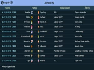 Calendario de partidos | LaLiga 1|2|3 | Jornada 40ª | Temporada 2017-2018 | 18 al 21/05/2018