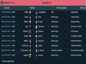 Calendario de partidos | LaLiga Santander | Jornada 36ª | Temporada 2017-2018 | 04 al 07/05/2018