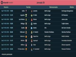 Calendario de partidos | LaLiga Santander | Jornada 38ª | Temporada 2017-2018 | 19 y 20/05/2018