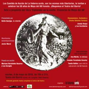 Celebración 50 años del Mayo del 68 francés | A propósito de 'Esplendor en la noche. Vivencias de Mayo del 68' | Teatro del Barrio | 08/05/2018 | Lavapiés | Madrid | Cartel